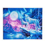 Image of Wolves and Northern Lights Crystal Art