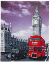 Image of Best of Britain Palace of Westminster, red bus and taxi Crystal Art