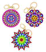Completed set of 3 crystal art Mandala keyring designs from Craft Buddy