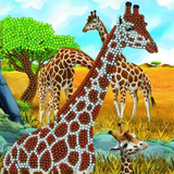 Completed Craft Buddy Gentle Giraffes crystal art card kit