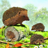 Completed Craft Buddy Happy Hedgehogs Crystal Art Card Kit design