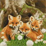 Completed Craft Buddy Fox Cubs Crystal Art kit