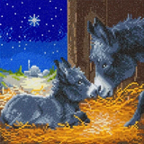 Completed Craft Buddy Little Donkey Crystal Art Kit, mum and baby donkey in barn