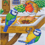 Completed Craft Buddy Hungry Birds Crystal Art Kit, featuring blue tits and robin