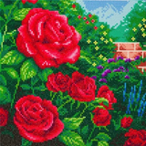Completed Craft Buddy Perfect Red Rose Crystal Art Kit, officially licensed by the Thomas Kinkade Studio