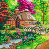 Completed Craft Buddy Friendship Cottage Crystal Art Kit, officially licensed by the Thomas Kinkade Studio