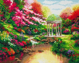 Completed Craft Buddy Pools of Serenity Crystal Art Kit, licensed by the Thomas Kinkade Studio