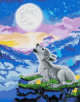 Completed Craft Buddy Howling Wolf Cub Crystal Art design