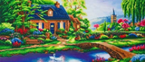 Completed Craft Buddy Stoney Creek Cottage Crystal Art Kit, officially licensed by the Thomas Kinkade Studio