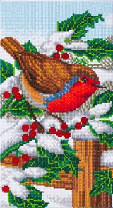 Craft Buddy Robin Friends Triptych Part 1, featuring colourful robin and holly