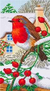 Craft Buddy Robin Friends Triptych Part 3, featuring robin and cottage in background
