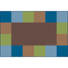 Grid Border Woodtones Brown - Rectangle Small Rug 1