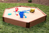 """Composite Sandbox Kit Hexagon 7x8ft 2 Level w/ Collapsible Cover, 2"""" Profile"""