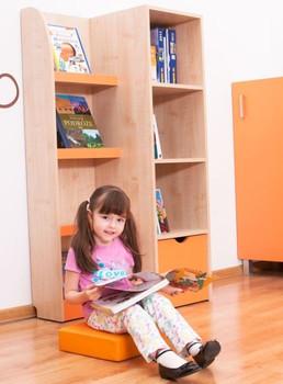 Orange Novum Infuse Color Bookcase Cabinet