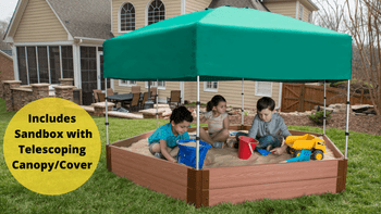 "7' x 8' x 11"" Composite Hexagon Sandbox Kit with Telescoping Canopy/Cover - 1"" profile"