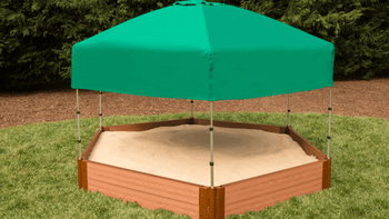 "7' x 8' x 11"" Composite Hexagon Sandbox Kit with Telescoping Canopy/Cover - 1"" profile, 300001370"