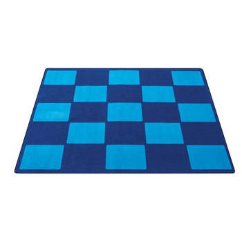 Checker Blue - Rectangle Small Rug 1