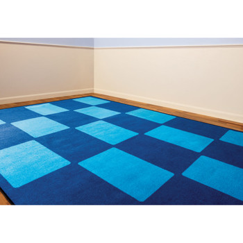 Checker Blue - Rectangle Large Rug 2