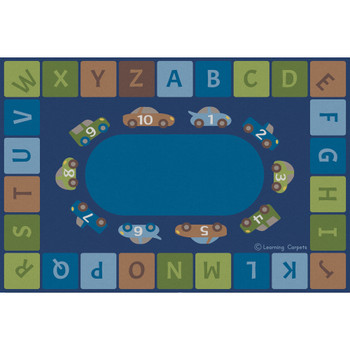 Alphabet Cars Woodtones - Rectangle Large Rug 1