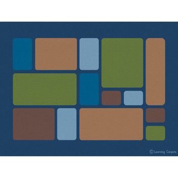 Color Block Woodtones - Rectangle Small Rug 1