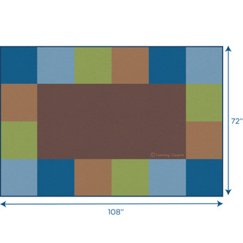 Grid Border Woodtones Brown - Rectangle Small Rug