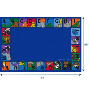 Alphabet Animals Border - Rectangle Large Rug 1