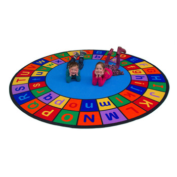 Alphabet Grid - Upper & Lower Case - Round Small Rug