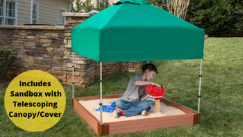 "Square Sandbox Kit w/ Telescoping Canopy & Cover - 4ft. X 4ft. X 5.5in, 2"" Profile"