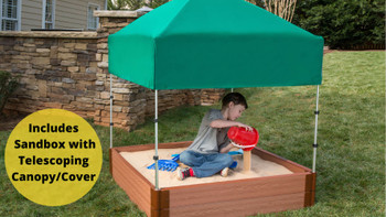 "Square Sandbox Kit w/ Telescoping Canopy & Cover - 4ft. X 4ft. X 11in - 2"" Profile"