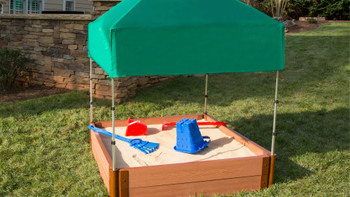"Square Sandbox Kit w/ Telescoping Canopy & Cover - 4ft. X 4ft. X 11in - 2"" Profile 1"