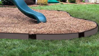 "Tool-Free Weathered Wood Curved Playground Border Kit 64' - 1"" Profile"
