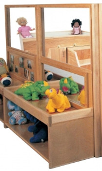Deluxe Room Divider with 18''h Storage & Mirror 1