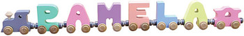 Maple Landmark Wooden Name Train - Pastel Colors 1