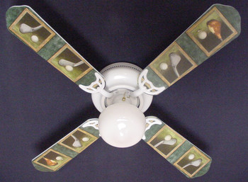 "Golf Clubs Golfers Golfing Ceiling Fan 42"" 1"