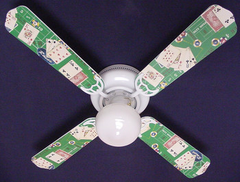 "Poker Cards Casino Craps Black Jack Ceiling Fan 42"" 1"