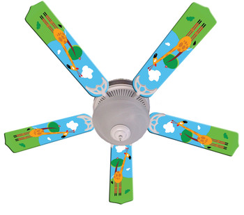"Kids Hangin Tall Giraffe Ceiling Fan 52"" 1"