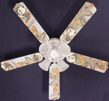 "Baby Safari Elephant Lion Zebra Ceiling Fan 52"" 1"