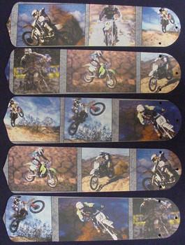 "Motocross Dirt Bikes 52"" Ceiling Fan Blades Only 1"