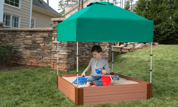 Square Sandbox Kit w/ Telescoping Canopy & Cover