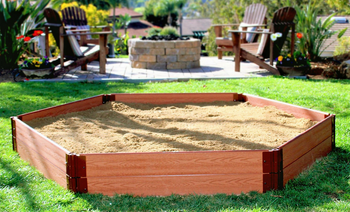 "7' x 8' x 11"" Hexagon Wooden Sandbox Kit 1"