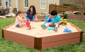 "Composite Sandbox Kit Hexagon 7x8ft 2 Level w/ Collapsible Cover, 1"" Profile,"