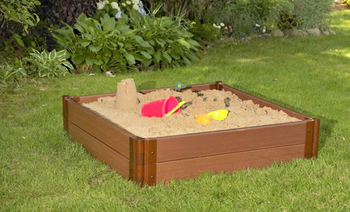 "Composite Sandbox Kit Square 4x4ft 2 Level /w Collapsible Cover, 1"" Profile"