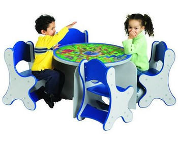 Play table shown with optional chairs