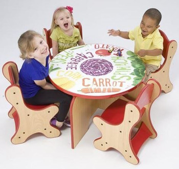 Veggie Play Table shown with optional chairs