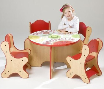 Fresh Fruit Play Table shown with optional chairs