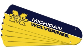 "NCAA Michigan Wolverines Ceiling Fan Blades For 52"" Fans"