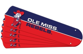 "NCAA Ole Mississippi Rebels Ceiling Fan Blades For 52"" Fans"
