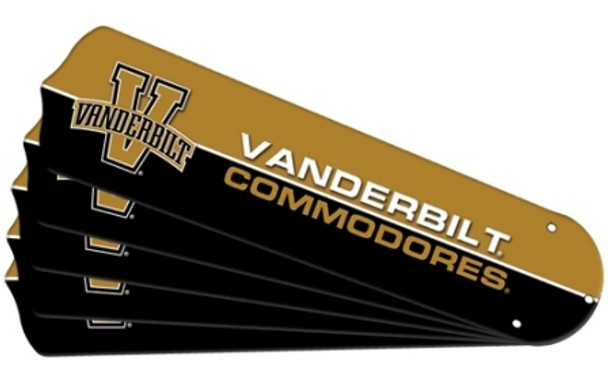 "NCAA Vanderbuilt Commodores Ceiling Fan Blades For 52"" Fans"