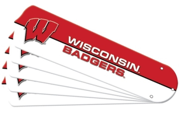 "NCAA Wisconsin Badgers Ceiling Fan Blades For 52"" Fans"