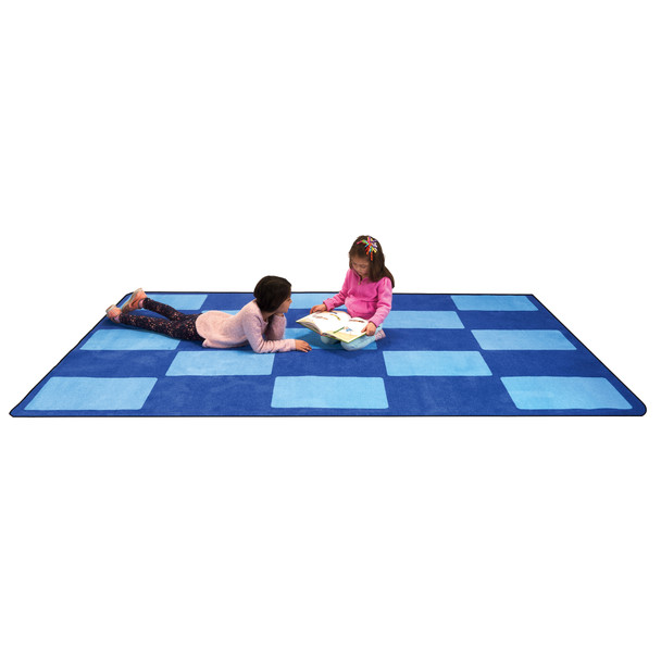 Checker Blue - Rectangle Large Rug